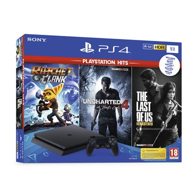 PlayStation 4,1TB Slim,Uncharted 4,The Last of Us,Ratchet&Clank,Hits bundle